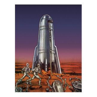 Vintage Science Fiction, Astronauts, Beetle Aliens Postcard