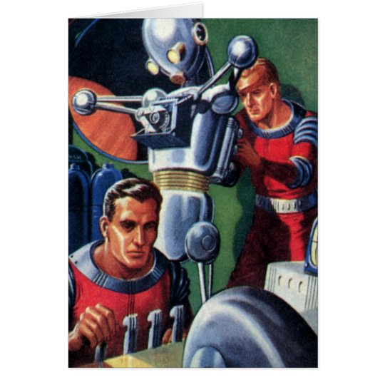 Vintage Science Fiction Astronauts Fixing a Robot Card