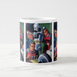 Vintage Science Fiction Astronauts Fixing a Robot Giant Coffee Mug