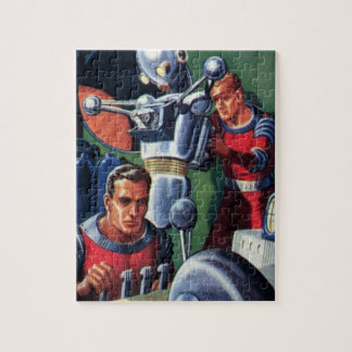 Vintage Science Fiction Astronauts Fixing a Robot Jigsaw Puzzle