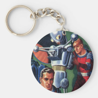 Vintage Science Fiction Astronauts Fixing a Robot Keychain