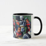 Vintage Science Fiction Astronauts Fixing a Robot Mug