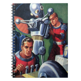 Vintage Science Fiction Astronauts Fixing a Robot Notebook