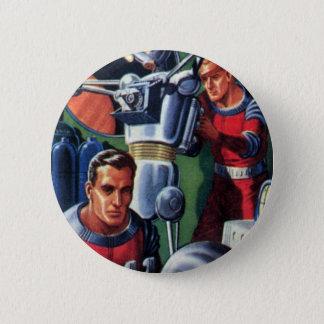 Vintage Science Fiction Astronauts Fixing a Robot Pinback Button