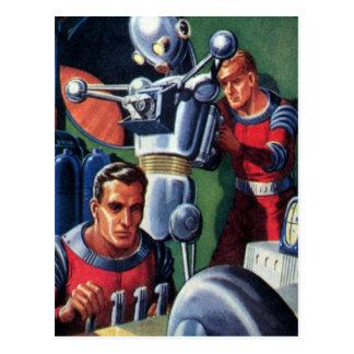 Vintage Science Fiction Astronauts Fixing a Robot Postcard
