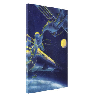 Vintage Science Fiction Astronauts in Outer Space Canvas Print