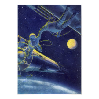 Vintage Science Fiction Astronauts in Outer Space Card