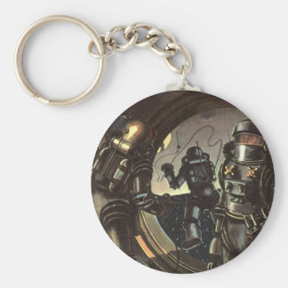 Vintage Science Fiction Astronauts on a Space Walk Keychain