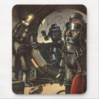 Vintage Science Fiction Astronauts on a Space Walk Mouse Pad