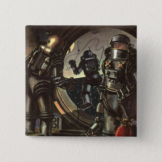 Vintage Science Fiction Astronauts on a Space Walk Pinback Button