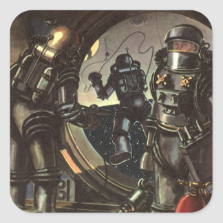 Vintage Science Fiction Astronauts on a Space Walk Square Sticker