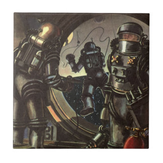 Vintage Science Fiction Astronauts on a Space Walk Tile