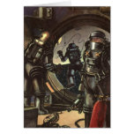 Vintage Science Fiction Astronauts on a Spacewalk Card
