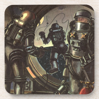 Vintage Science Fiction Astronauts on a Spacewalk Drink Coasters