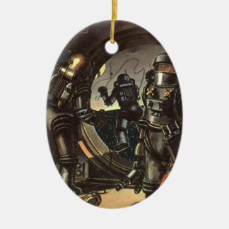 Vintage Science Fiction Astronauts on a Spacewalk Double-Sided Oval Ceramic Christmas Ornament