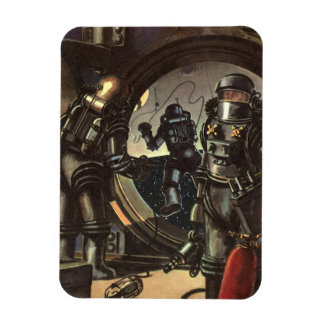 Vintage Science Fiction Astronauts on a Spacewalk Magnet
