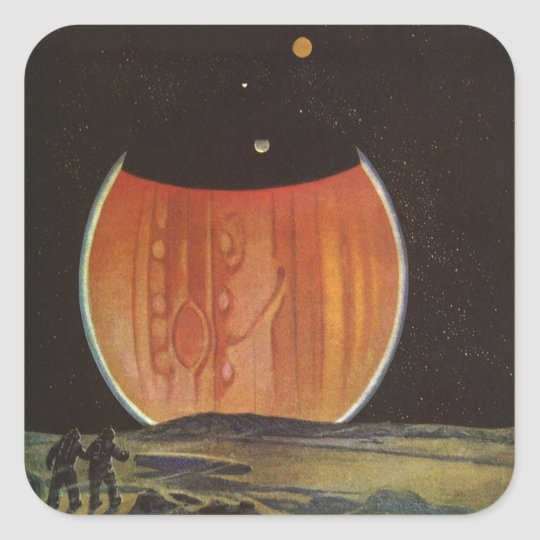 Vintage Science Fiction, Astronauts on Ganymede Square Sticker