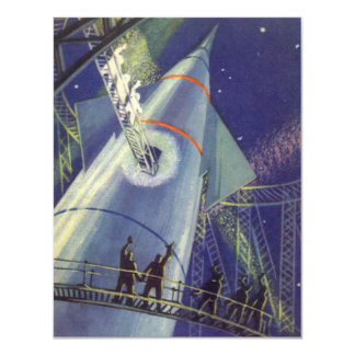 Vintage Science Fiction Astronauts on Rocket Ship Card