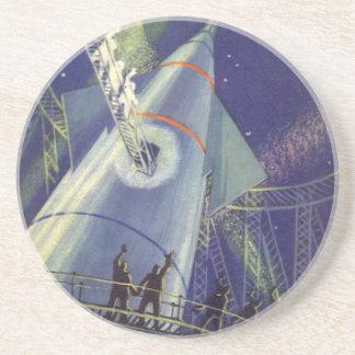 Vintage Science Fiction Astronauts on Rocket Ship Drink Coaster