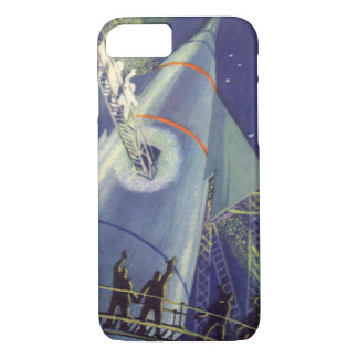 Vintage Science Fiction Astronauts on Rocket Ship iPhone 8/7 Case