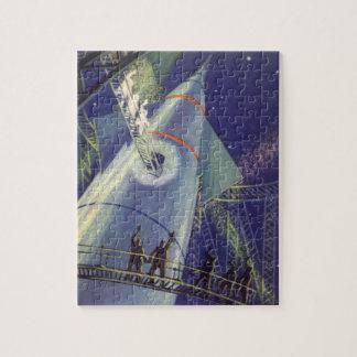 Vintage Science Fiction Astronauts on Rocket Ship Jigsaw Puzzle