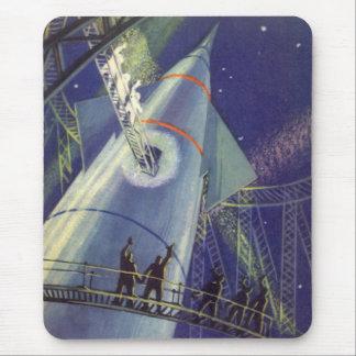 Vintage Science Fiction Astronauts on Rocket Ship Mouse Pad