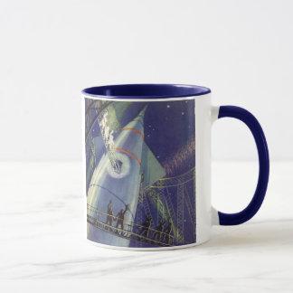 Vintage Science Fiction Astronauts on Rocket Ship Mug