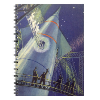 Vintage Science Fiction Astronauts on Rocket Ship Notebook