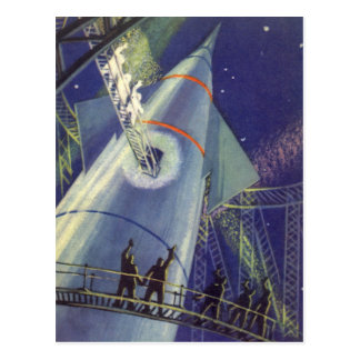 Vintage Science Fiction Astronauts on Rocket Ship Postcard