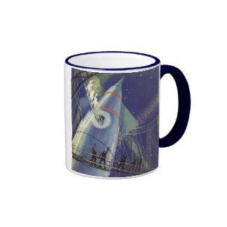 Vintage Science Fiction Astronauts on Rocketship Ringer Coffee Mug