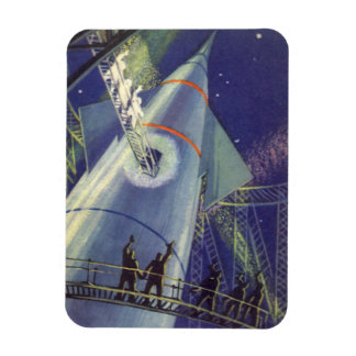 Vintage Science Fiction Astronauts on Rocketship Rectangular Photo Magnet