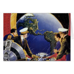 Vintage Science Fiction Astronauts Orbiting Earth Card