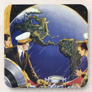 Vintage Science Fiction Astronauts Orbiting Earth Coaster