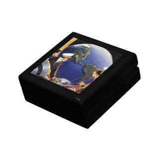 Vintage Science Fiction Astronauts Orbiting Earth Jewelry Box