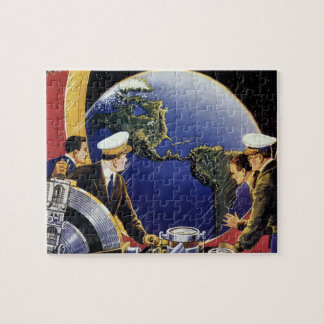 Vintage Science Fiction Astronauts Orbiting Earth Jigsaw Puzzles