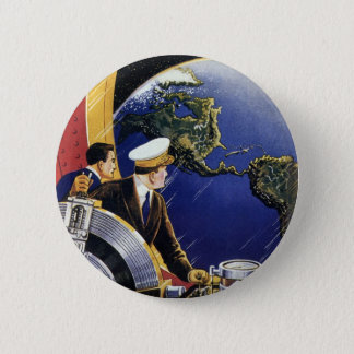 Vintage Science Fiction Astronauts Orbiting Earth Pinback Button