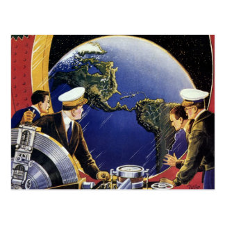 Vintage Science Fiction Astronauts Orbiting Earth Postcard