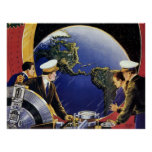 Vintage Science Fiction Astronauts Orbiting Earth Poster