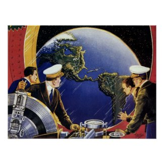 Vintage Science Fiction Astronauts Orbiting Earth Posters