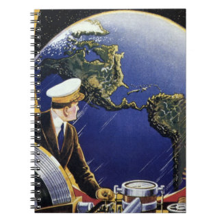 Vintage Science Fiction Astronauts Orbiting Earth Spiral Notebook