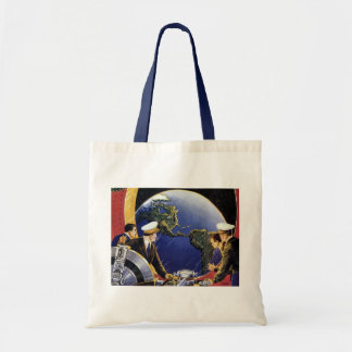 Vintage Science Fiction Astronauts Orbiting Earth Tote Bag