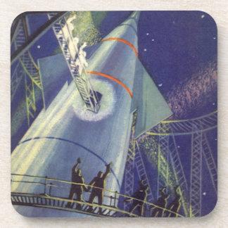Vintage Science Fiction Astronauts Wave Goodbye Drink Coaster