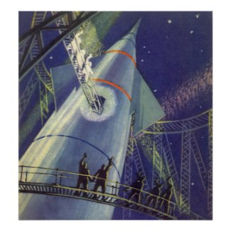 Vintage Science Fiction Astronauts Wave Goodbye Poster