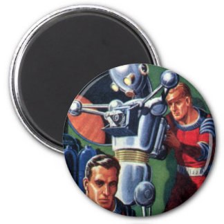 Vintage Science Fiction Astronauts with a Robot Refrigerator Magnets