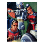 Vintage Science Fiction Astronauts with a Robot Post Card