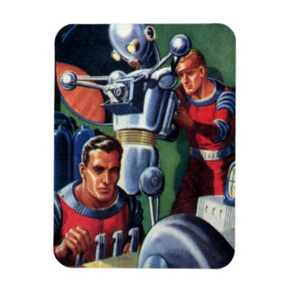 Vintage Science Fiction Astronauts with a Robot Rectangular Magnet