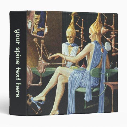 Vintage Science Fiction Beauty Salon Spa Manicures 3 Ring Binder