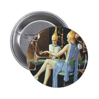 Vintage Science Fiction Beauty Salon Spa Manicures Button
