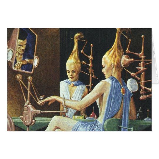 Vintage Science Fiction Beauty Salon Spa Manicures Card