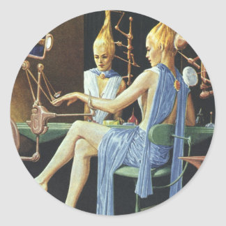 Vintage Science Fiction Beauty Salon Spa Manicures Classic Round Sticker